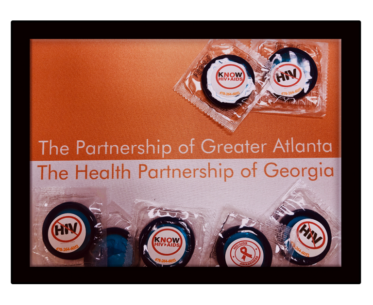 Partnership of Greater Atlanta & Health Partnership of Georgia button like poster with Know HIV AIDS on top