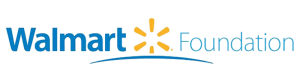 Walmart Foundation logo blue writing with yellow burst in middle