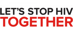 Let's Stop HIV Together banner with white background and black and red text